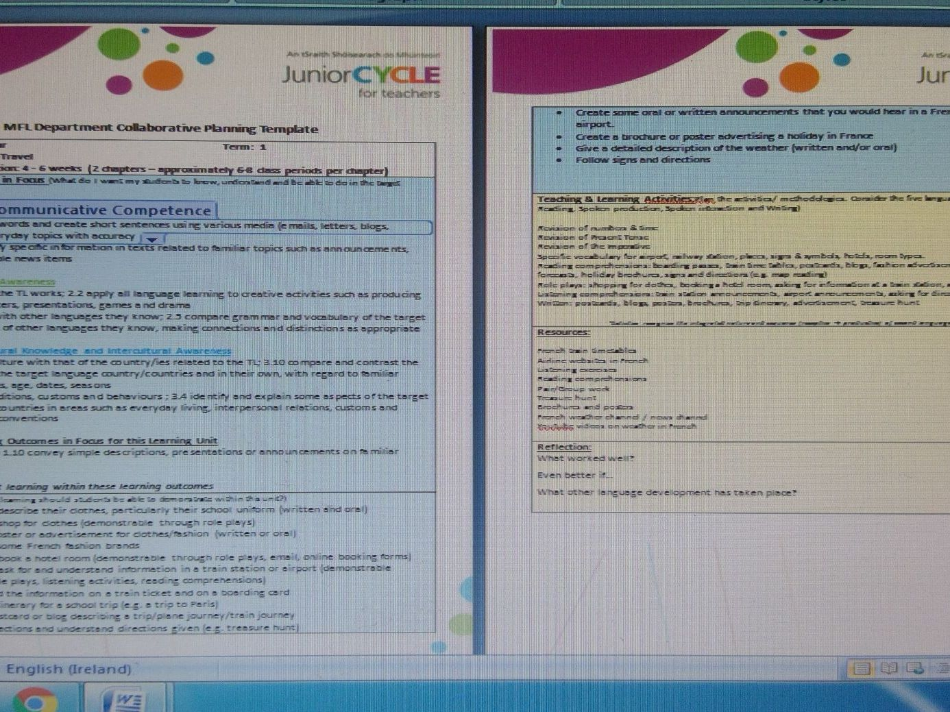 Learning units for 3rd Year MFL (French, German, Spanish)