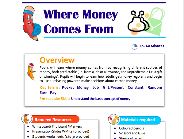 Where money Comes From KS1 Lesson Plan