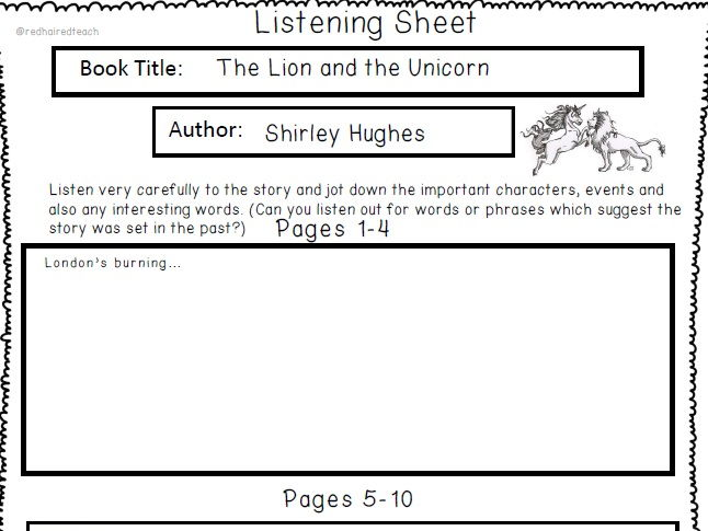 Listening sheets for The Lion and the Unicorn by Shirley Hughes
