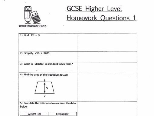 GCSE Maths Higher Level Homework Worksheets