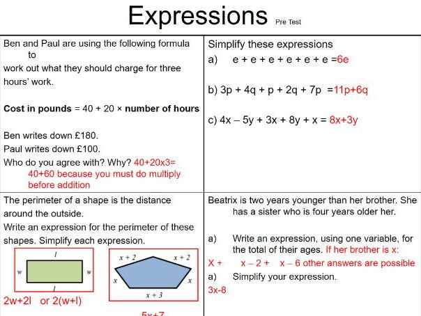 Formula and Expressions Pre and Post Tests with Answers