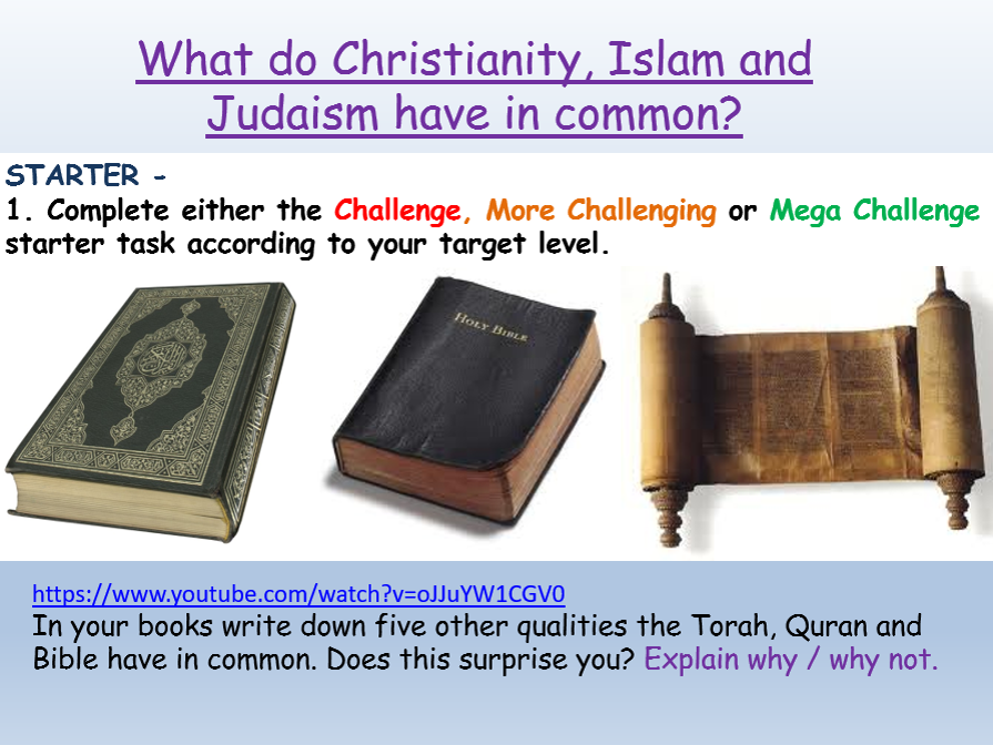 Christianity, Islam and Judaism