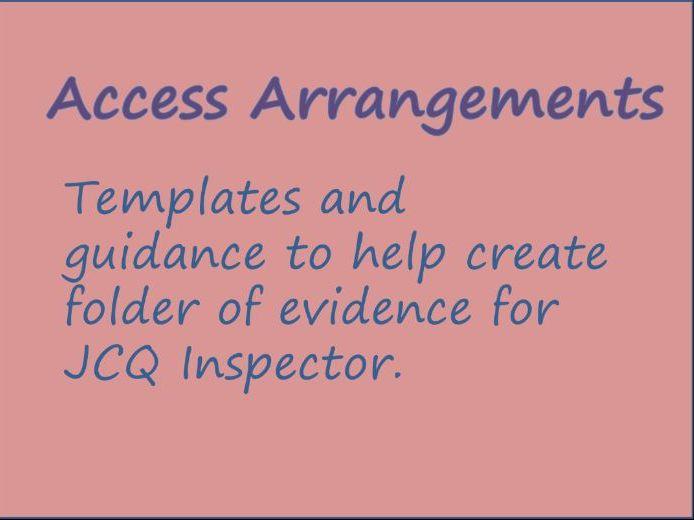 Access Arrangements Evidence Folder Guidance and Templates SENCo Access Arrangement Assessor