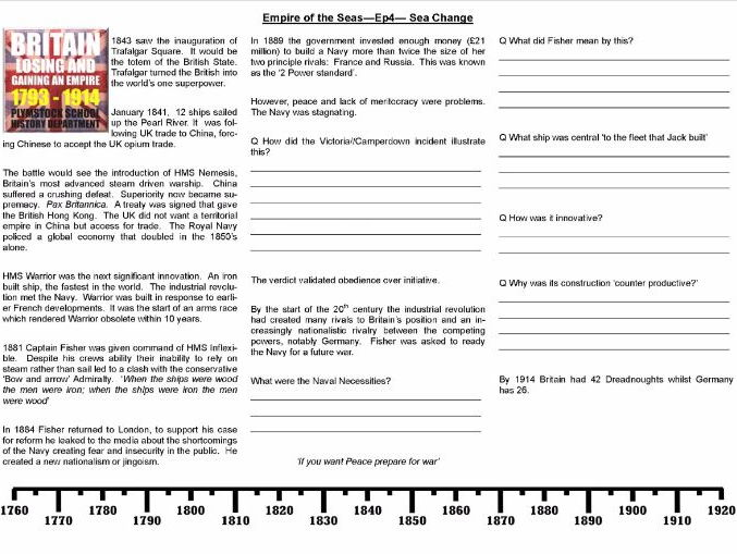 'Empire of the Seas' - Worksheets to support the BBC Dan Snow Documentary Ep.2,3 & 4
