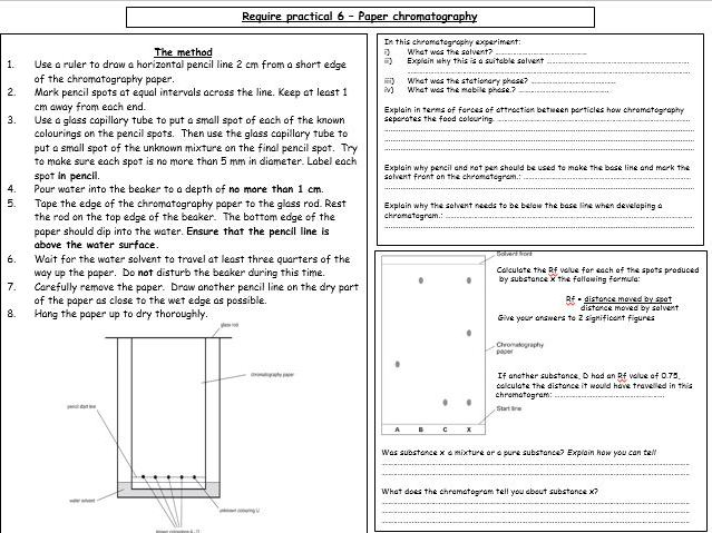 Required practical activity (CHEMISTRY) - PAPER CHROMATOGRAPHY (revision worksheet & answers)