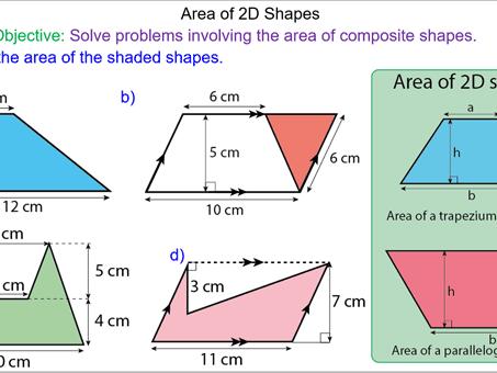 Area of 2d shapes worksheet ks2