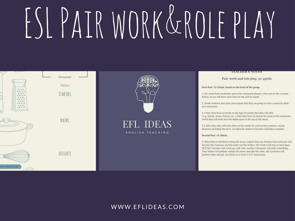 Pair Work&Role Play: Food/At The Restaurant. Student sheet&Teacher's sheet