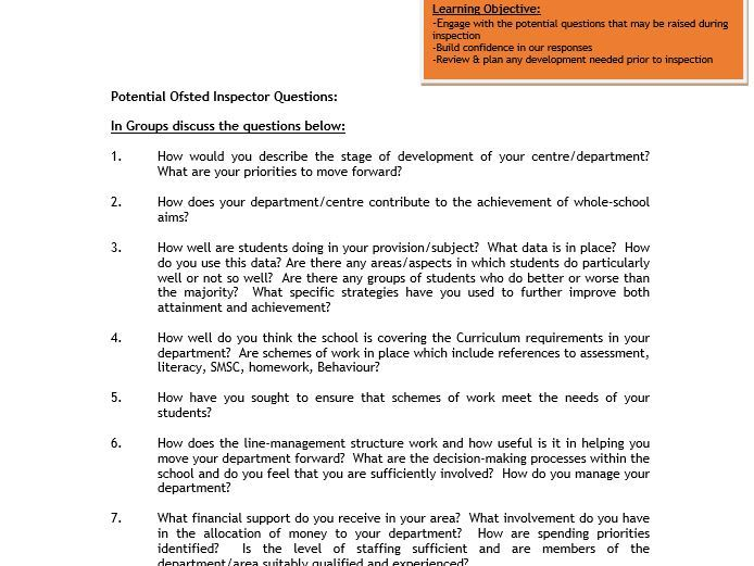 OFSTED Inspection Questions - Whole School Development & Planning Activity - Tried & Tested