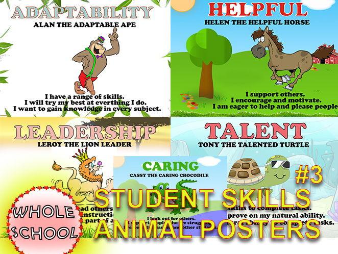 Primary Posters Visual displays Student SKILLS Animals #3