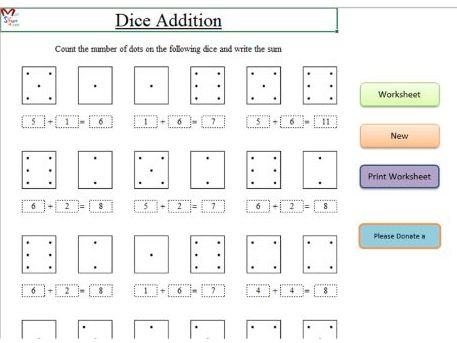Dice Addition (Early Years Maths) Software