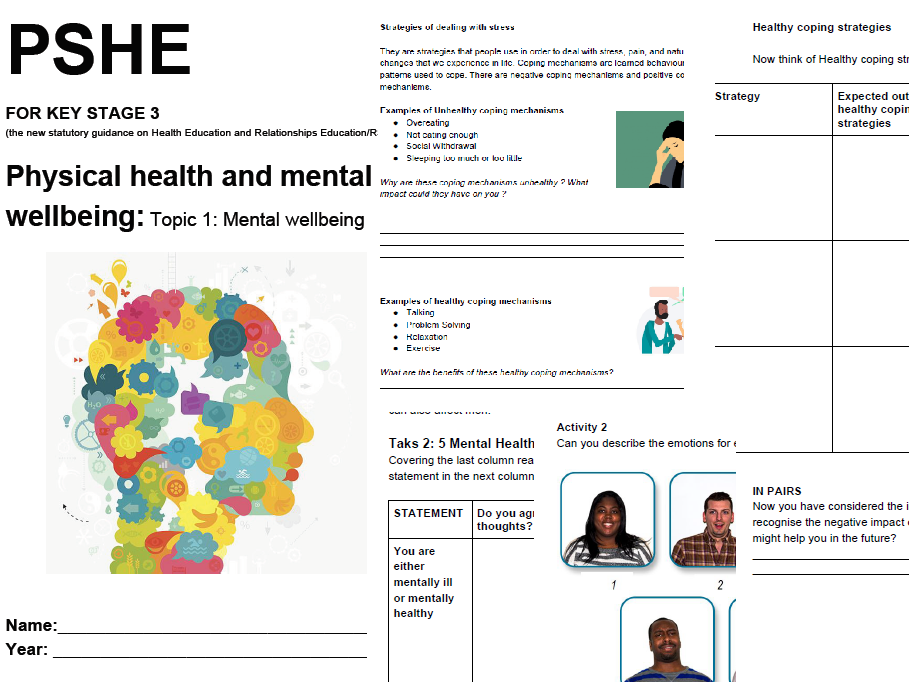 PSHE KS3 Physical health and mental wellbeing Topic 1: Mental wellbeing