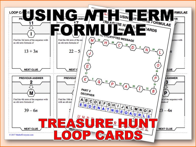 Using nth Term Formulae (Treasure Hunt)