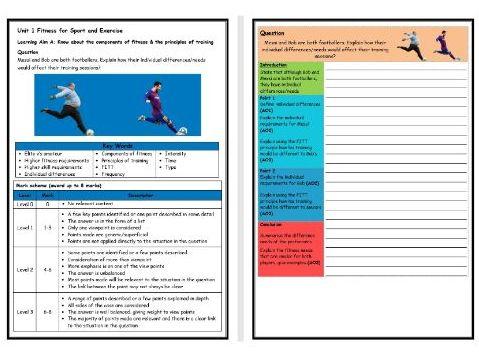 BTEC Sport (Level 2)- Unit 1 – Principles of Training 3 Structure Strip (Long Answer Question)