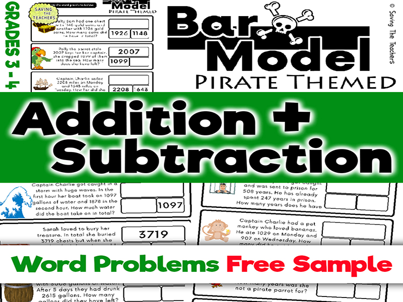 Free Sample: Pirates Addition & Subtraction Bar Model Word Problems: Years 4 and 5