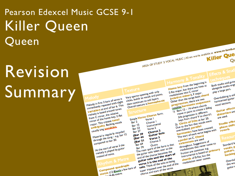 Queen - Killer Queen | Edexcel Pearson GCSE Music 9-1 | Knowledge Organiser / Revision
