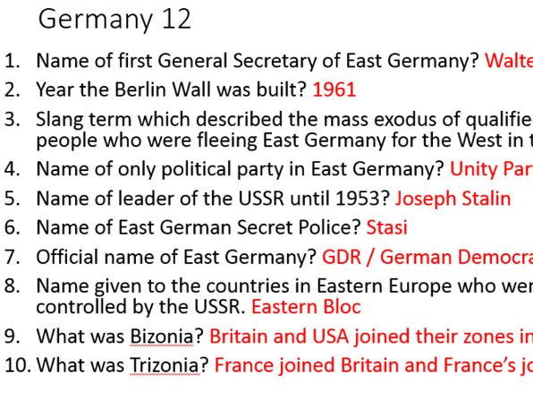 Eduqas / WJEC GCSE History Germany 1919-1991 KING & QUEEN starter & plenary knowledge tests