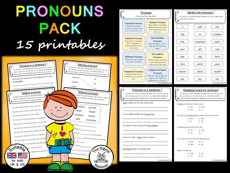 Pronouns Pack (Parts of Speech) (suitable for both UK/US) - 15+ printables