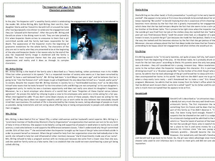 An Inspector Calls by J.R. Priestley - IGCSE Literature O Level