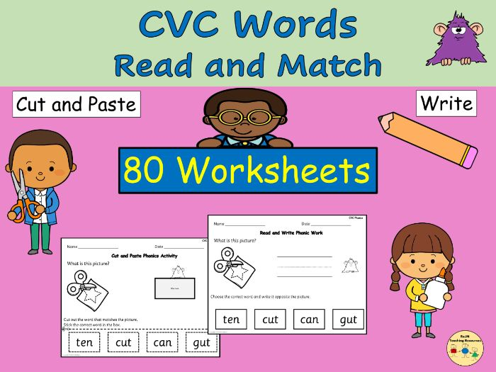 CVC Words Cut Paste Match Worksheets Phonics