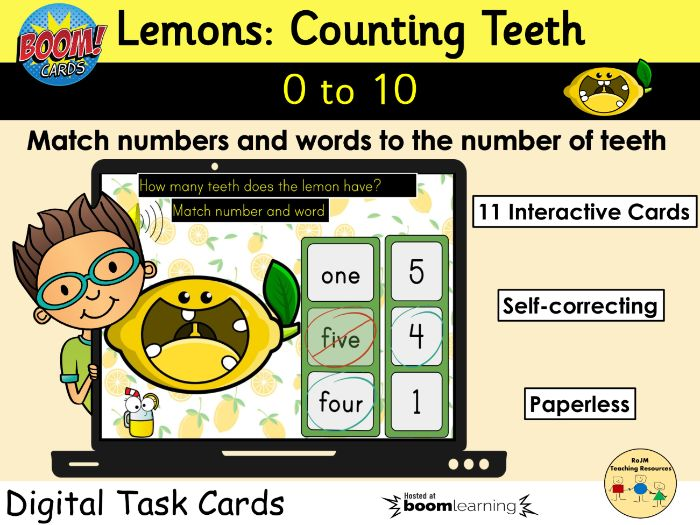 Counting 0 to 10 Lemons Teeth Fruit BOOM Cards™ Distance Learning
