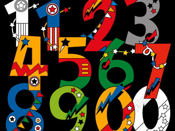 Superhero numbers clipart - 0 to 9 bright numbers clip art
