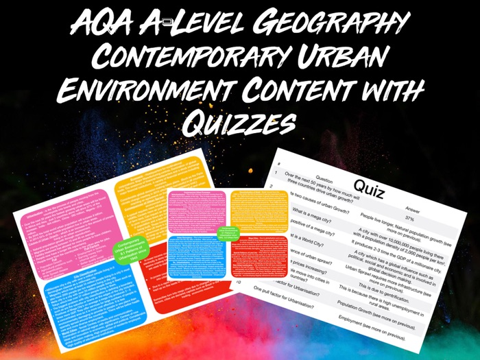 AQA A-LEVEL Geography Contemporary Urban Environment Content with Quiz