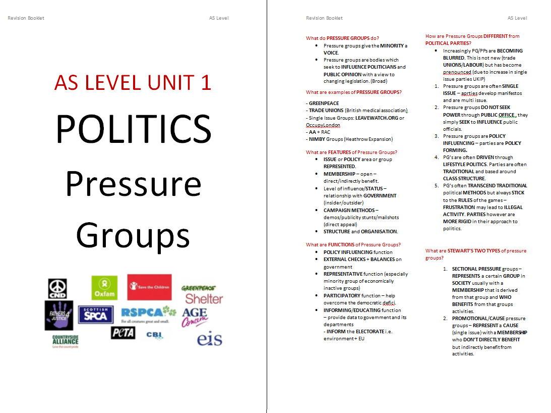 Edexcel Government & Politics Pressure Groups Booklet