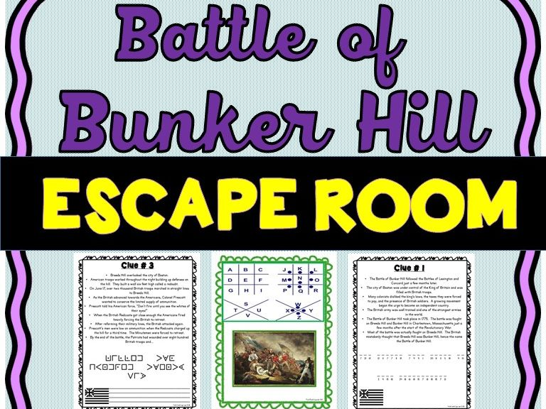 Battle of Bunker Hill Escape Room : American Revolution