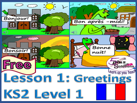 Primary French WHOLE FREE LESSON: Leçon 1- Greetings and Saying your name