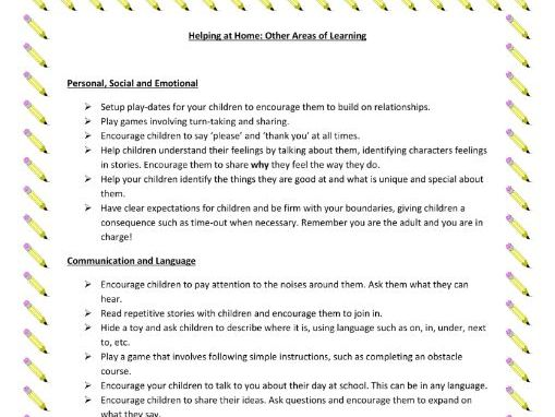 Printable Sheet of Home Learning Activities for Prime & Specific Areas (EYFS)