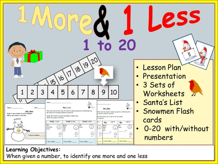 Counting and Numbers: 1 More/1 Less - Presentation, Lesson Plan, Worksheets, Christmas List Activity