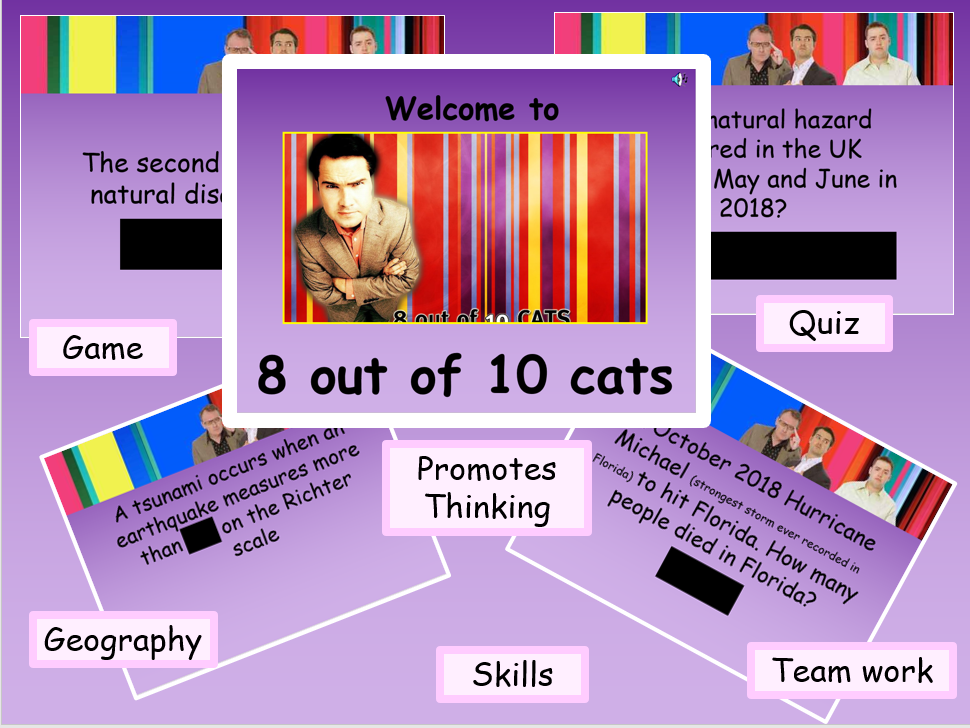 Natural hazards AQA geography quiz game - 8 out of 10 cats - GCSE ks4 team building game