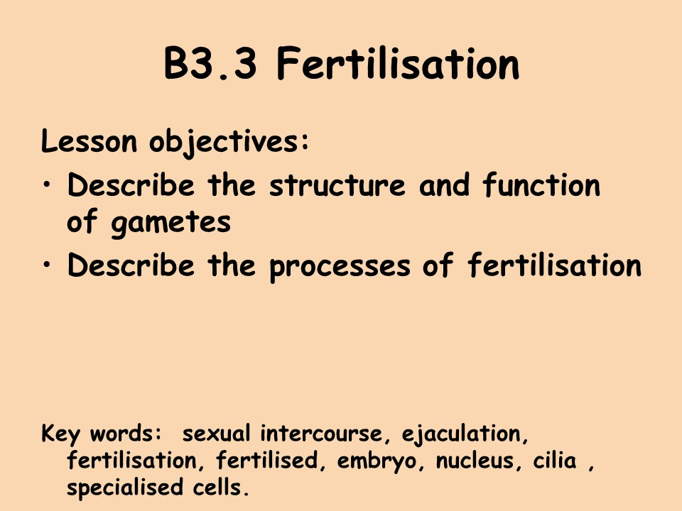 Activate 1 KS3 Reproduction: fertilisation and implantation