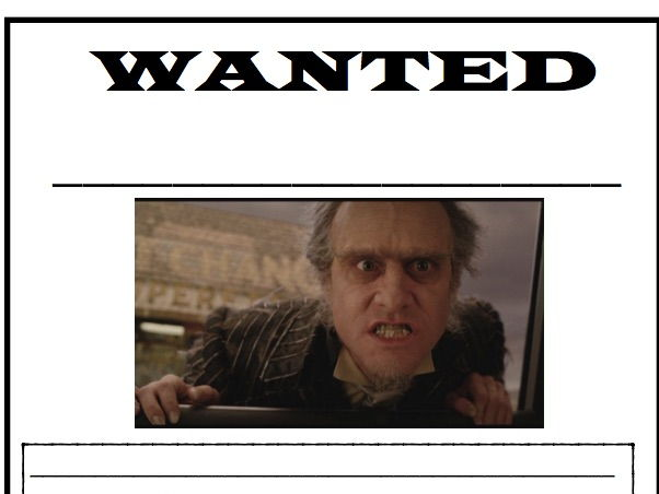 Count Olaf Wanted Poster- Character Description