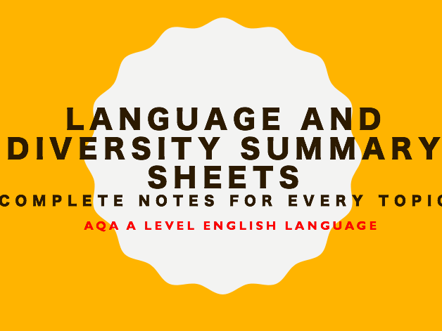 Language and Diversity Paper 2 Summary Sheets