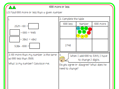 8. 1000 more or less differentiated worksheet (Y4 NPV)