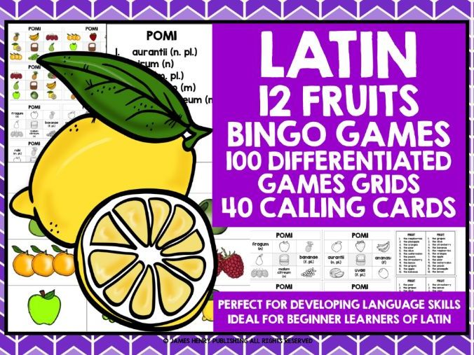 PRIMARY LATIN FRUITS BINGO