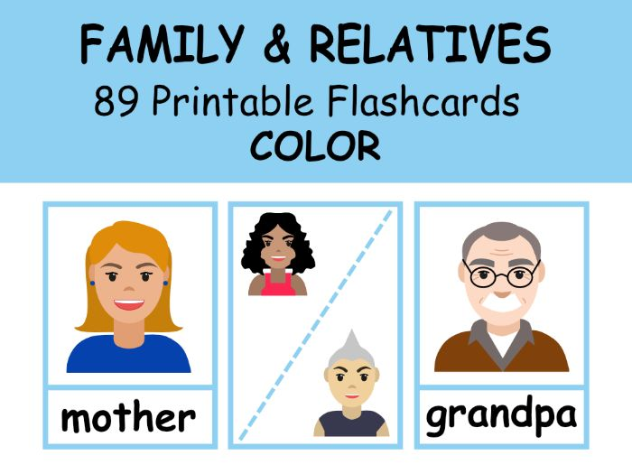 FAMILY Flashcards COLOR For EFL\ESL\ENL