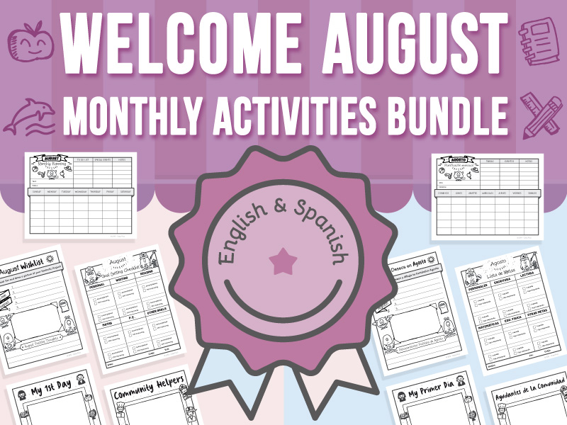 Welcome August - Monthly Activities BUNDLE