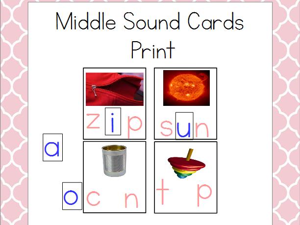 Middle Vowel Sounds Cards - Print