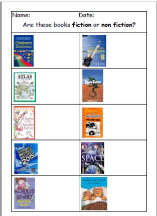 Fiction or Non Fiction? Worksheet, help card, SEN, ASD