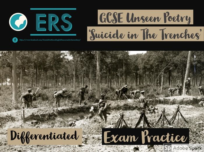 GCSE Unseen Poetry Lesson - 'Suicide in the Trenches' by Siegfried Sasson
