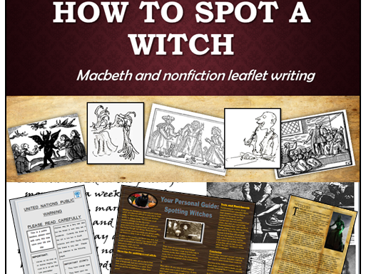 Macbeth context and non fiction leaflet writing about witches KS4 GCSE (Act 1, Scene 1) Pre-reading