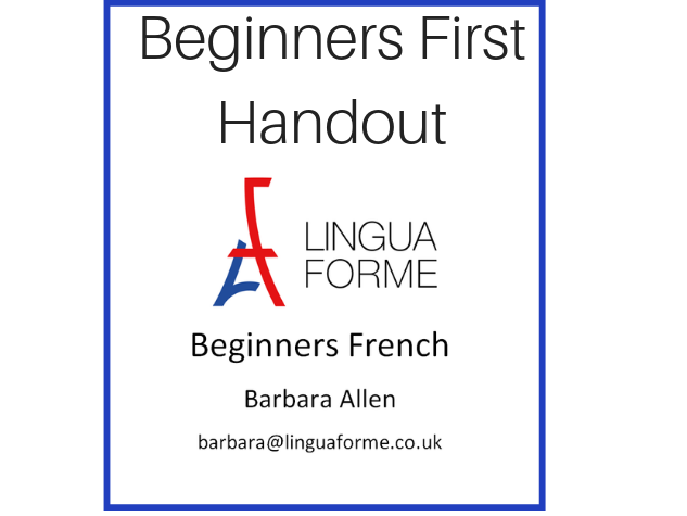 Free First Handout for Beginners French