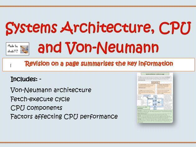 Systems Architecture, CPU and Von-Neumann - Knowledge organiser
