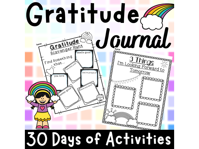 Gratitude Journal 30 Days Worksheets End of Year