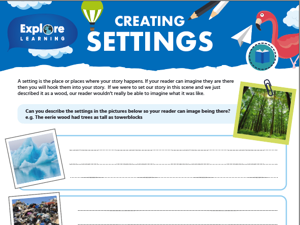 Free creating settings in storywriting activity sheet