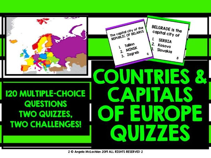 photograph about State Capitals Quiz Printable Multiple Choice known as GEOGRAPHY QUIZ: EUROPE Nations Funds Towns