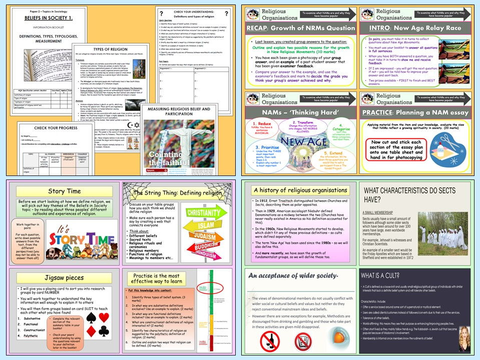 AQA A-Level Sociology - Beliefs in Society 1 Definitions and Organisations (Booklet and Lessons)