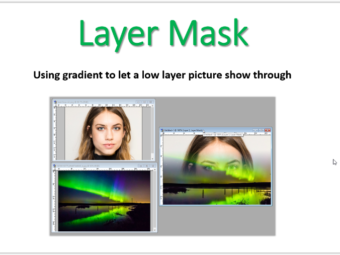 Photoshop 7.0  Using Layer, text and vector masks.  Student and teacher guide (19 slides)